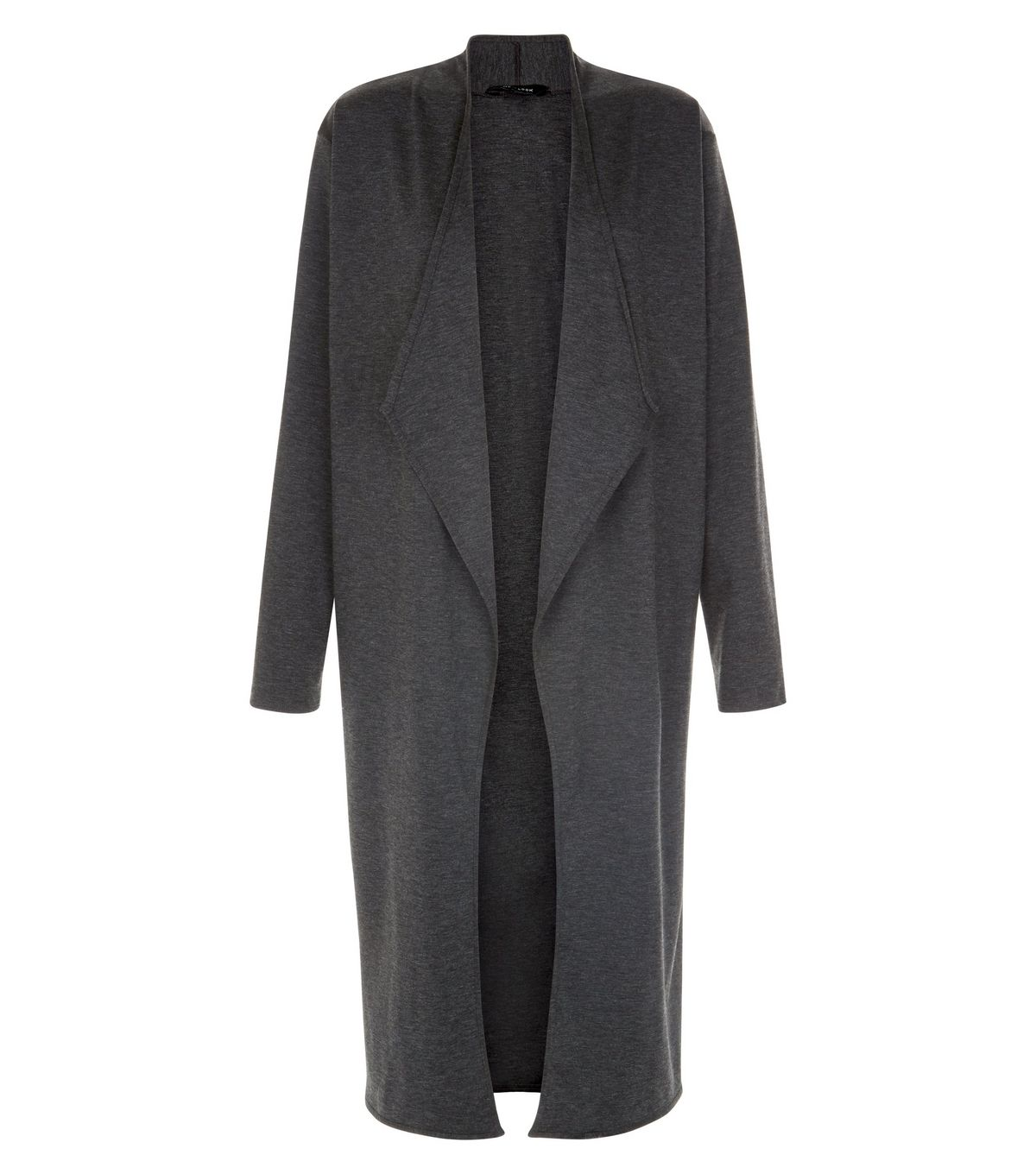 new look Grey Collarless Waterfall Longline Cardigan