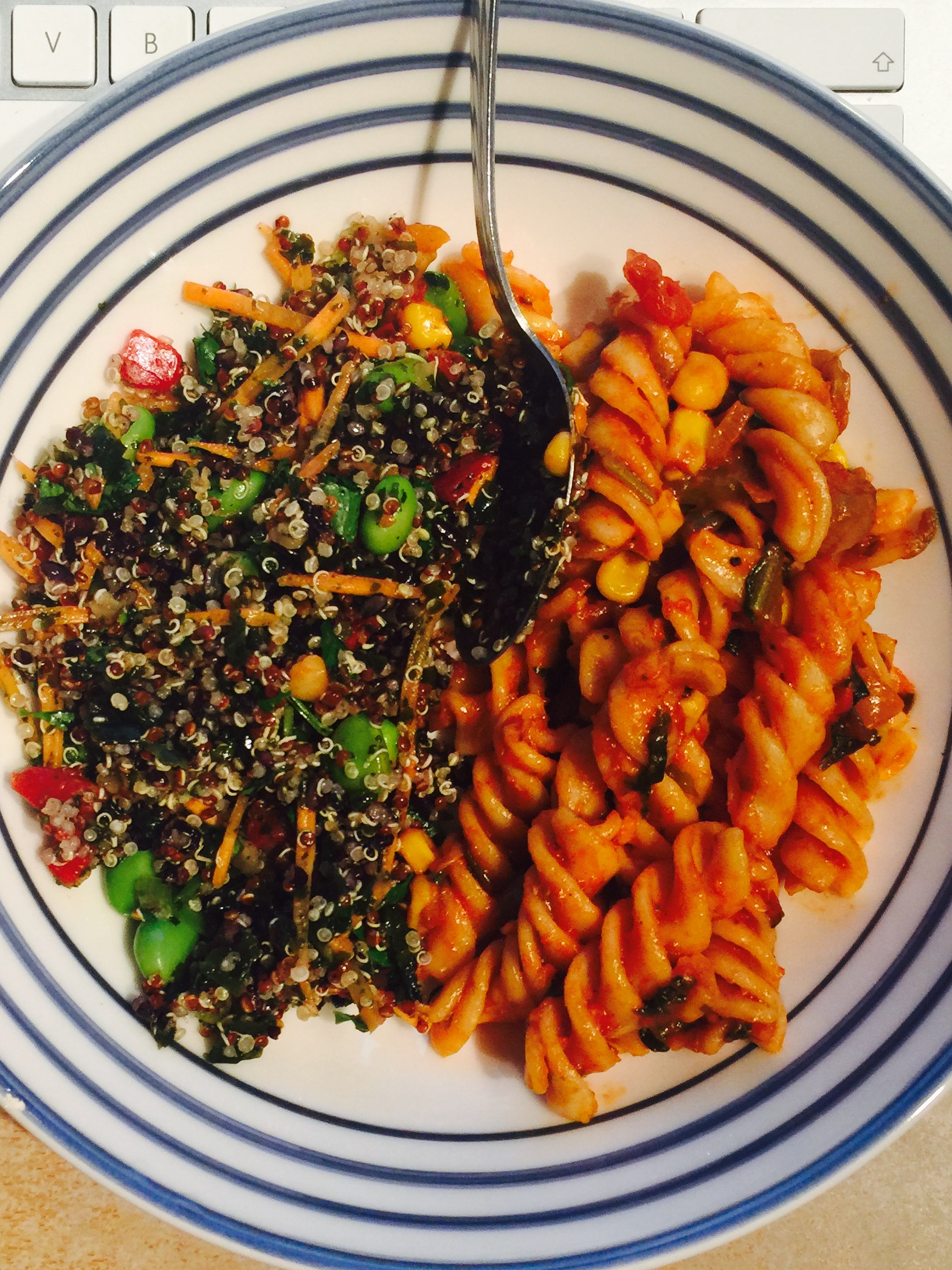 home cooked pasta and quinoa salad